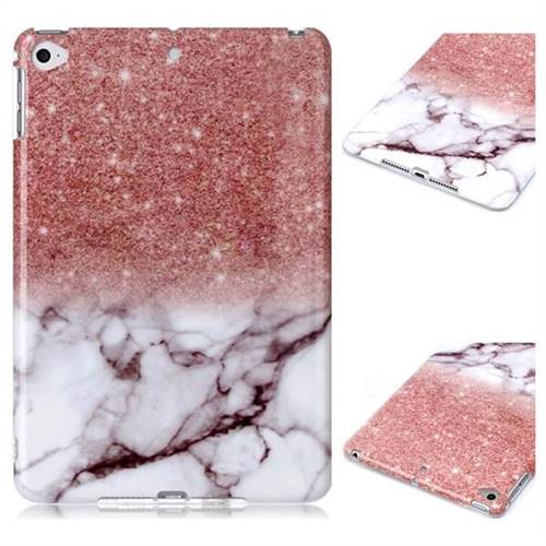 Glittering Rose Gold Marble Clear Bumper Glossy Rubber Silicone Phone Case for iPad Mini 4