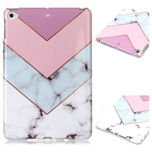 Stitching Pink Marble Clear Bumper Glossy Rubber Silicone Phone Case for iPad Mini 4