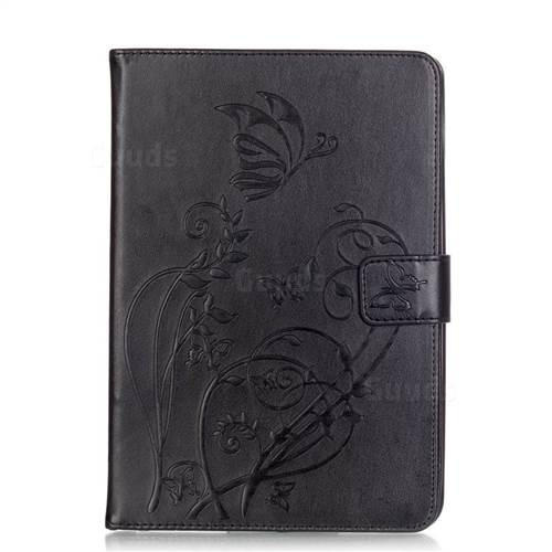 Embossing Butterfly Flower Leather Wallet Case for iPad Mini 4 - Black