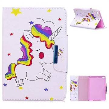 Rainbow Unicorn Folio Flip Stand Leather Wallet Case for iPad Mini 4