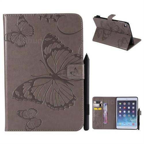 Embossing 3D Butterfly Leather Wallet Case for iPad Mini 4 - Gray