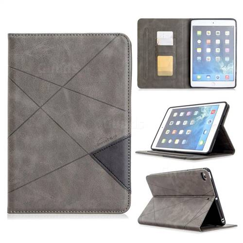 Binfen Color Prismatic Slim Magnetic Sucking Stitching Wallet Flip Cover for iPad Mini 4 - Gray