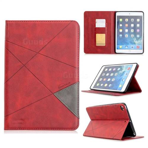 Binfen Color Prismatic Slim Magnetic Sucking Stitching Wallet Flip Cover for iPad Mini 4 - Red