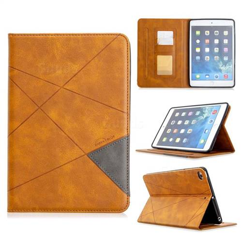 Binfen Color Prismatic Slim Magnetic Sucking Stitching Wallet Flip Cover for iPad Mini 4 - Yellow