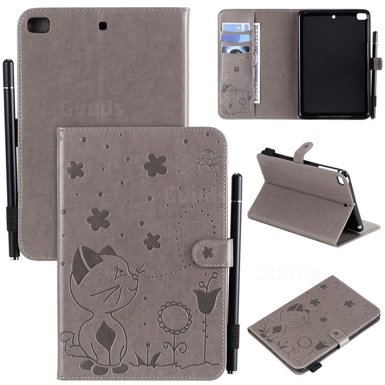 Embossing Bee and Cat Leather Flip Cover for iPad Mini 4 - Gray