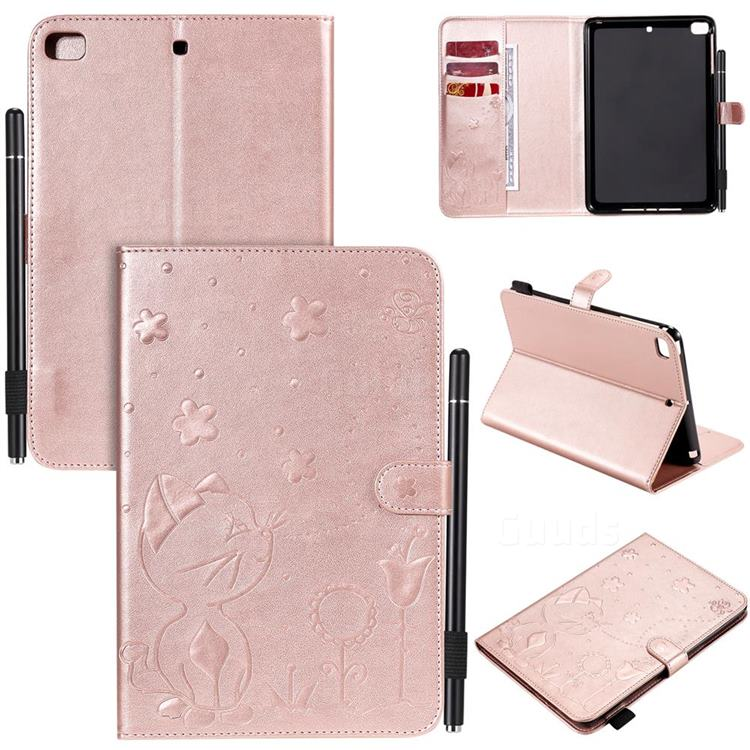 Embossing Bee and Cat Leather Flip Cover for iPad Mini 4 - Rose Gold