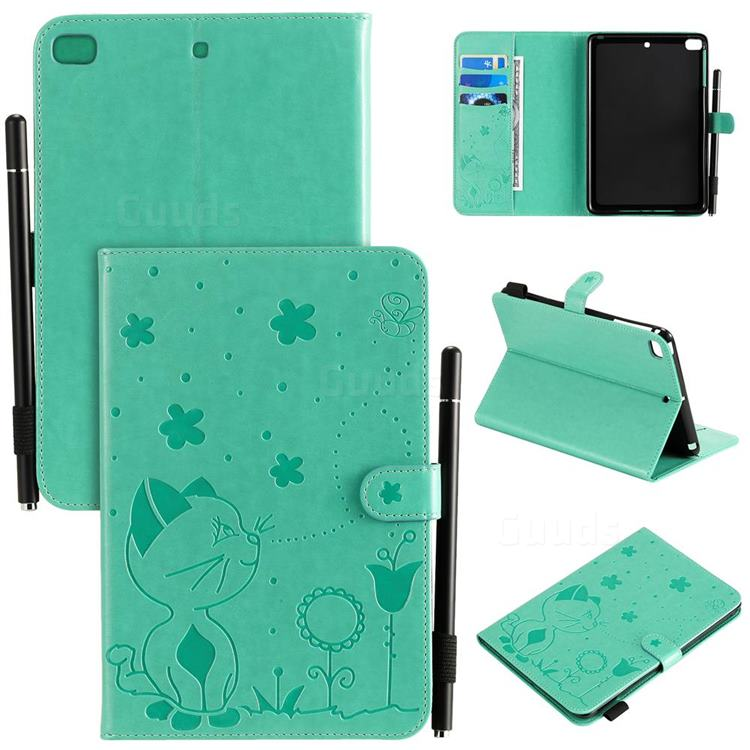 Embossing Bee and Cat Leather Flip Cover for iPad Mini 4 - Green