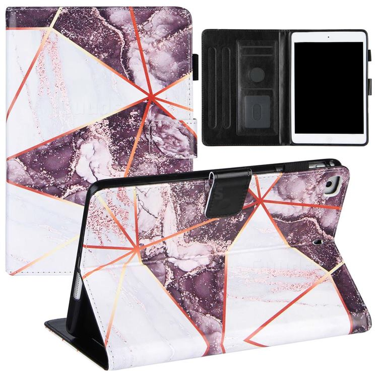 Black and White Stitching Color Marble Leather Flip Cover for Apple iPad Mini 4
