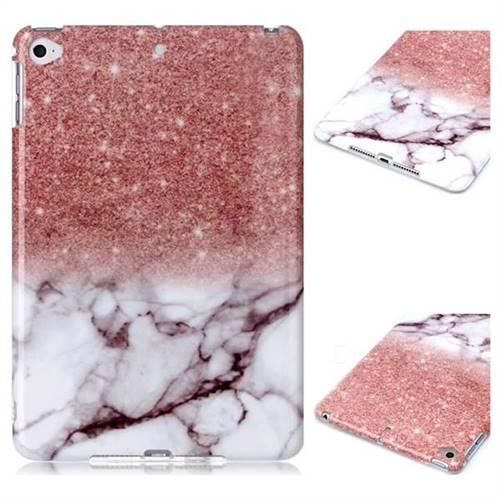Glittering Rose Gold Marble Clear Bumper Glossy Rubber Silicone Phone Case for iPad Mini 5 Mini5