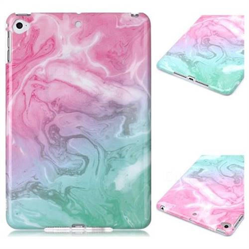 Pink Green Marble Clear Bumper Glossy Rubber Silicone Phone Case for iPad Mini 5 Mini5