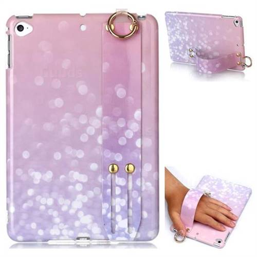 Glitter Pink Marble Clear Bumper Glossy Rubber Silicone Wrist Band Tablet Stand Holder Cover for iPad Mini 5 Mini5
