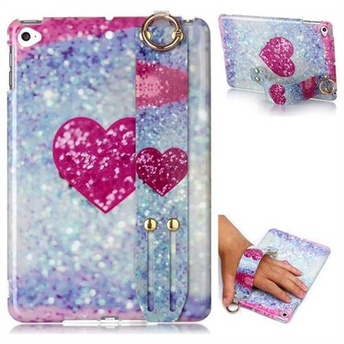 Glitter Rose Heart Marble Clear Bumper Glossy Rubber Silicone Wrist Band Tablet Stand Holder Cover for iPad Mini 5 Mini5