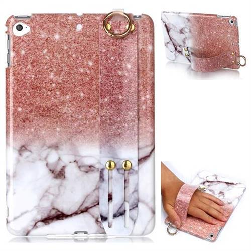 Glittering Rose Gold Marble Clear Bumper Glossy Rubber Silicone Wrist Band Tablet Stand Holder Cover for iPad Mini 5 Mini5
