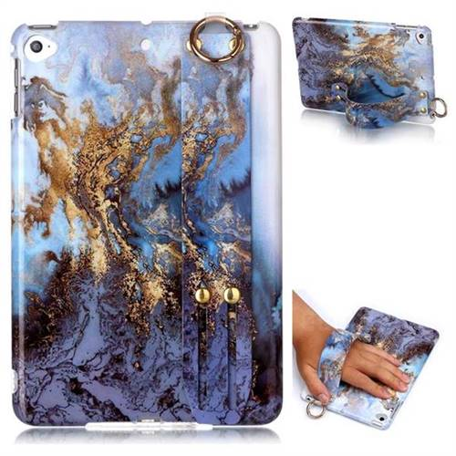 Sea Blue Marble Clear Bumper Glossy Rubber Silicone Wrist Band Tablet Stand Holder Cover for iPad Mini 5 Mini5