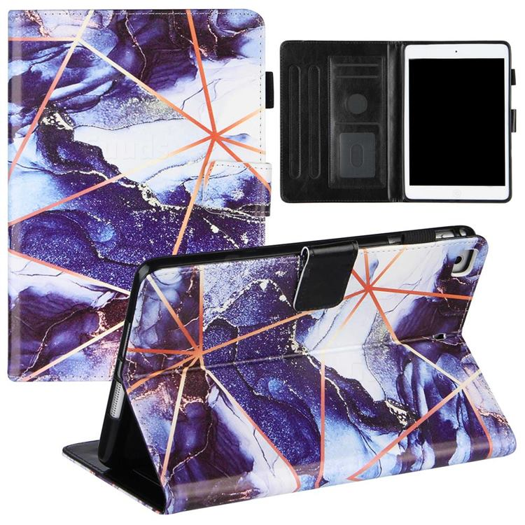 Starry Blue Stitching Color Marble Leather Flip Cover for Apple iPad Mini 5 Mini5