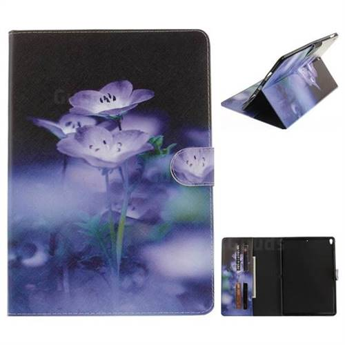 Blue Flowers Painting Tablet Leather Wallet Flip Cover for iPad Pro 10.5
