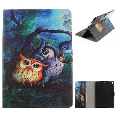 Oil Painting Owl Painting Tablet Leather Wallet Flip Cover for iPad Pro 10.5