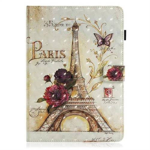 Flower Eiffel Tower 3D Painted Leather Wallet Tablet Case for iPad Pro 10 5