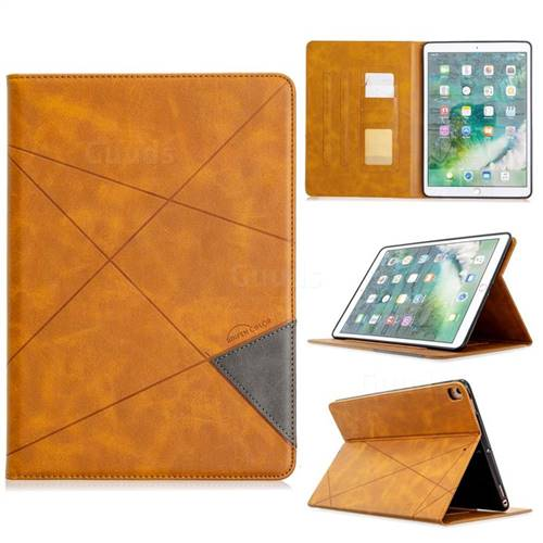 Binfen Color Prismatic Slim Magnetic Sucking Stitching Wallet Flip Cover for iPad Pro 10.5 - Yellow