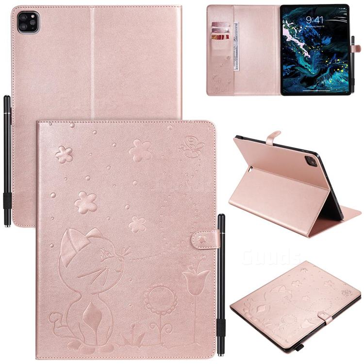 Embossing Bee and Cat Leather Flip Cover for Apple iPad Pro 12.9 (2020) - Rose Gold