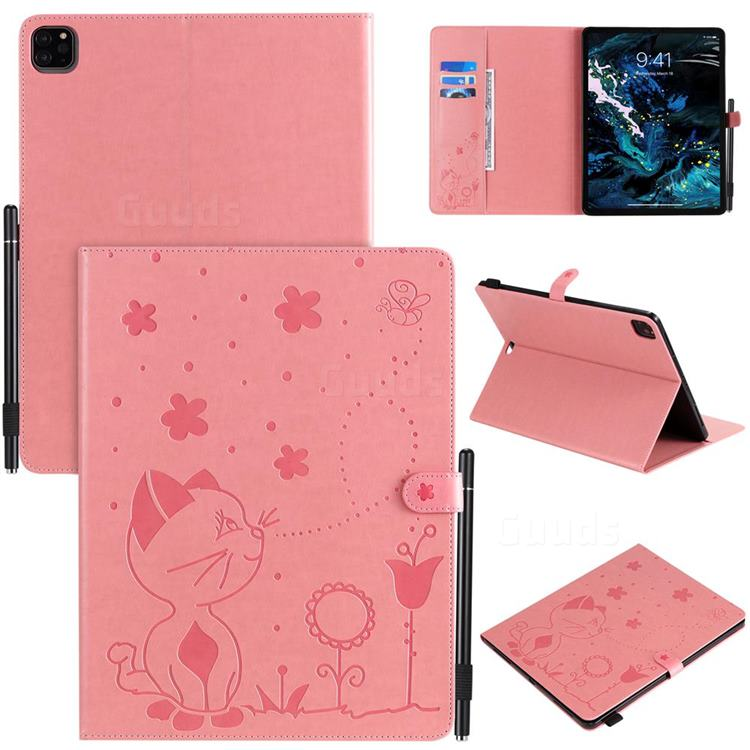 Embossing Bee and Cat Leather Flip Cover for Apple iPad Pro 12.9 (2018) - Pink