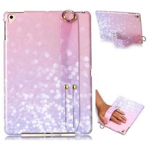 Glitter Pink Marble Clear Bumper Glossy Rubber Silicone Wrist Band Tablet Stand Holder Cover for iPad Pro 9.7 2016 9.7 inch