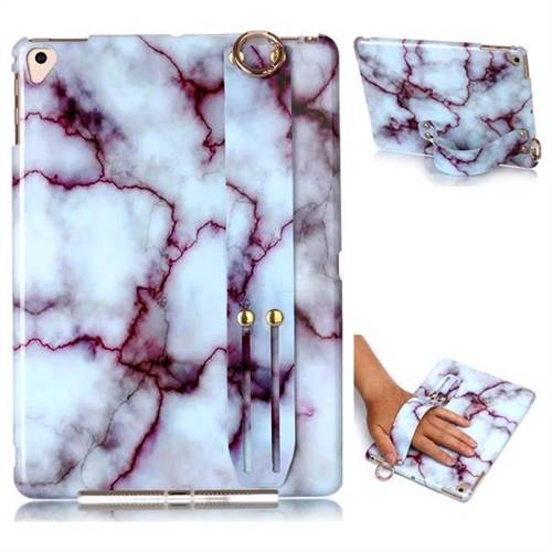 Bloody Lines Marble Clear Bumper Glossy Rubber Silicone Wrist Band Tablet Stand Holder Cover for iPad Pro 9.7 2016 9.7 inch