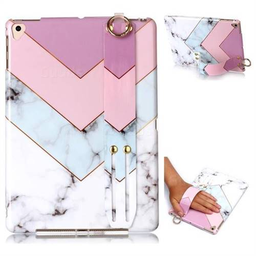 Stitching Pink Marble Clear Bumper Glossy Rubber Silicone Wrist Band Tablet Stand Holder Cover for iPad Pro 9.7 2016 9.7 inch