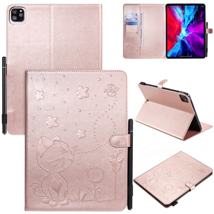Embossing Bee and Cat Leather Flip Cover for Apple iPad Pro 11 (2020) - Rose Gold