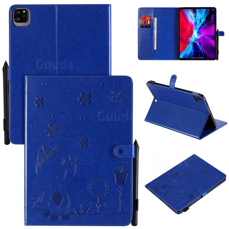 Embossing Bee and Cat Leather Flip Cover for Apple iPad Pro 11 (2020) - Blue