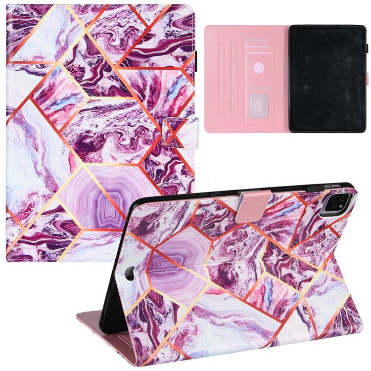 Dream Purple Stitching Color Marble Leather Flip Cover for Apple iPad Pro 11 (2020)