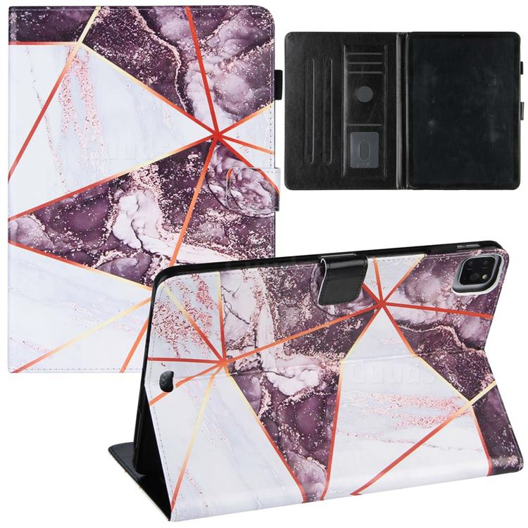 Black and White Stitching Color Marble Leather Flip Cover for Apple iPad Pro 11 (2020)