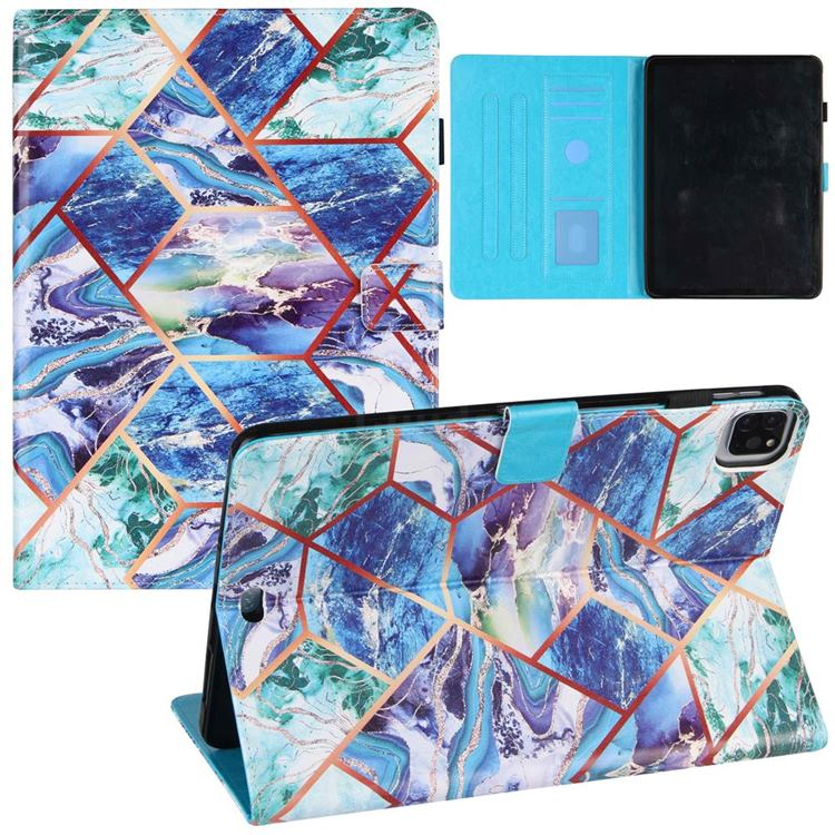 Green and Blue Stitching Color Marble Leather Flip Cover for Apple iPad Pro 11 (2020)