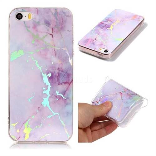 Pink Purple Marble Pattern Bright Color Laser Soft TPU Case for iPhone SE2 (iPhone SE 2018)