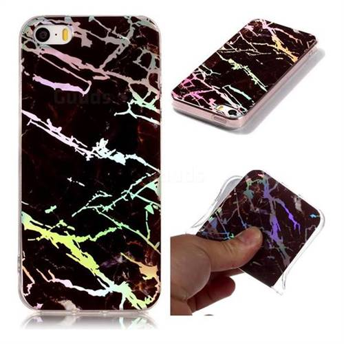 Black Brown Marble Pattern Bright Color Laser Soft TPU Case for iPhone SE2 (iPhone SE 2018)