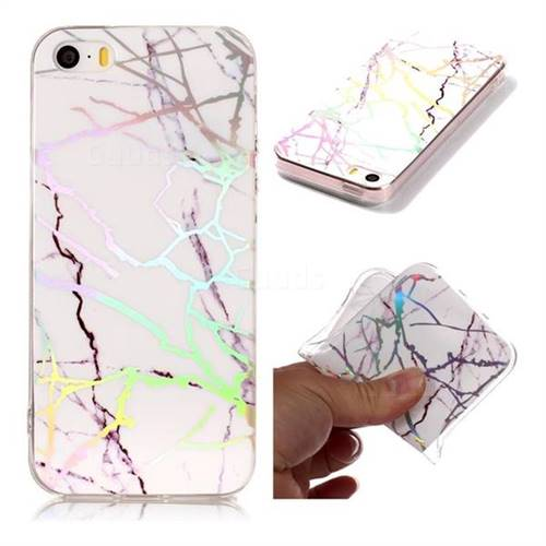 Color White Marble Pattern Bright Color Laser Soft TPU Case for iPhone SE2 (iPhone SE 2018)