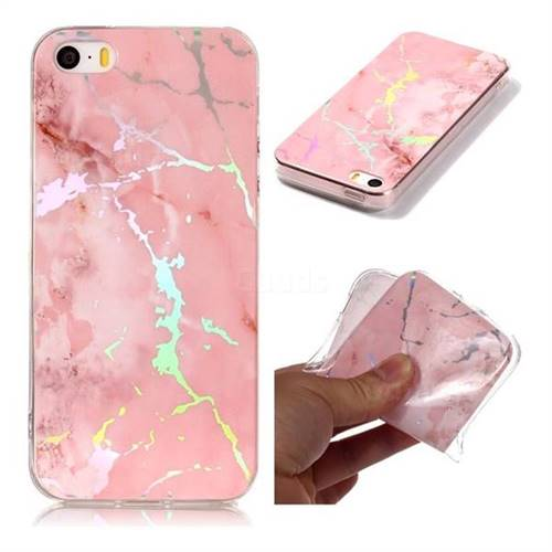 Powder Pink Marble Pattern Bright Color Laser Soft TPU Case for iPhone SE2 (iPhone SE 2018)