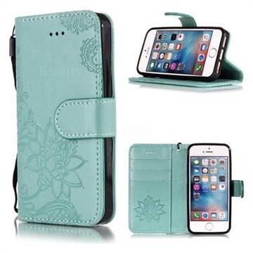 Intricate Embossing Lotus Mandala Flower Leather Wallet Case for iPhone SE2 (iPhone SE 2018) - Green
