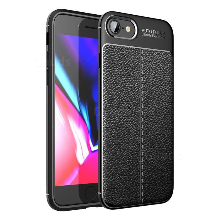 Luxury Auto Focus Litchi Texture Silicone TPU Back Cover for iPhone SE 2020 - Black