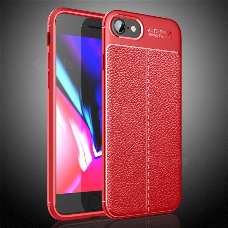 Luxury Auto Focus Litchi Texture Silicone TPU Back Cover for iPhone SE 2020 - Red