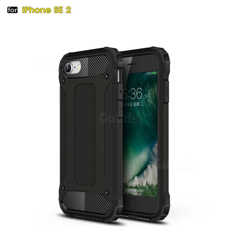 King Kong Armor Premium Shockproof Dual Layer Rugged Hard Cover for iPhone SE 2020 - Black Gold