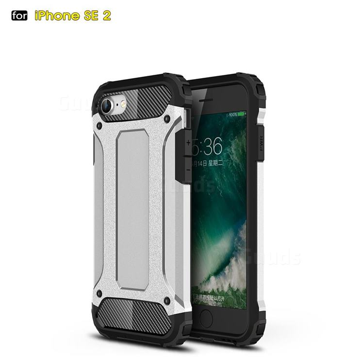 King Kong Armor Premium Shockproof Dual Layer Rugged Hard Cover for iPhone SE 2020 - White