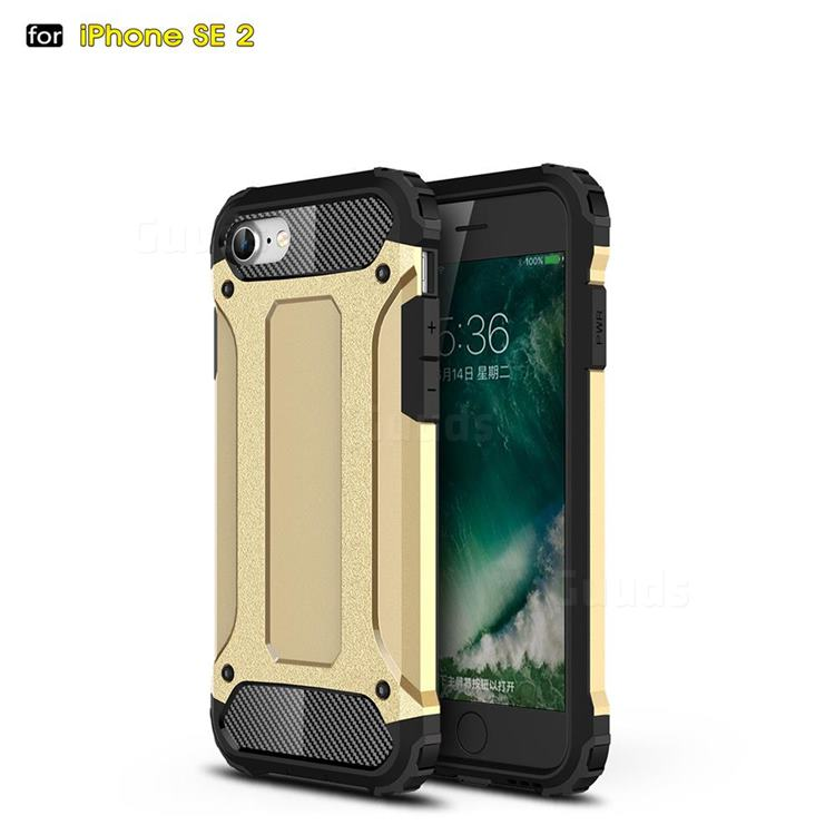 King Kong Armor Premium Shockproof Dual Layer Rugged Hard Cover for iPhone SE 2020 - Champagne Gold
