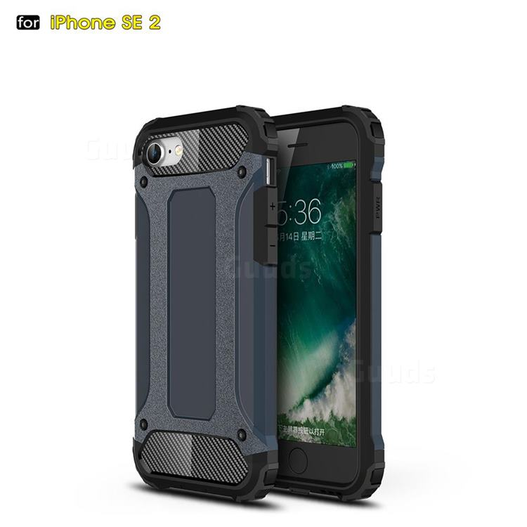 King Kong Armor Premium Shockproof Dual Layer Rugged Hard Cover for iPhone SE 2020 - Navy