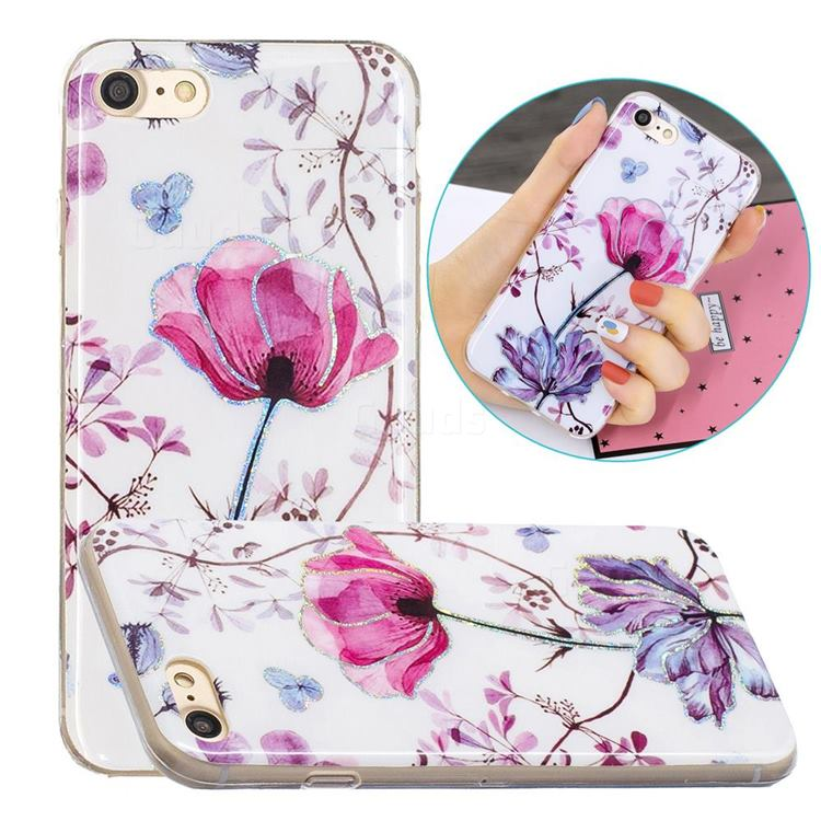 Magnolia Painted Galvanized Electroplating Soft Phone Case Cover for iPhone SE 2020