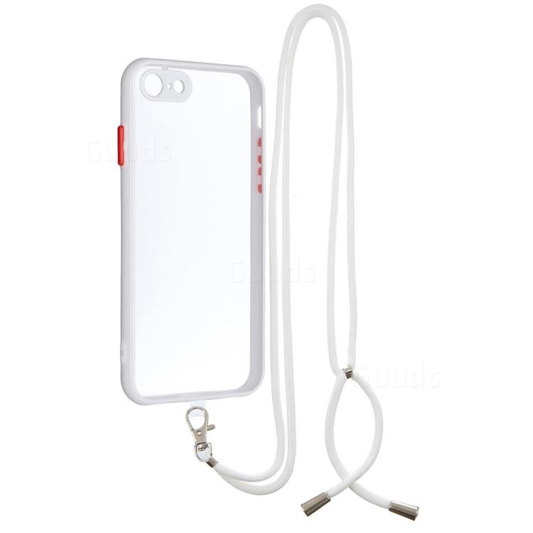 Necklace Cross-body Lanyard Strap Cord Phone Case Cover for iPhone SE 2020 - White