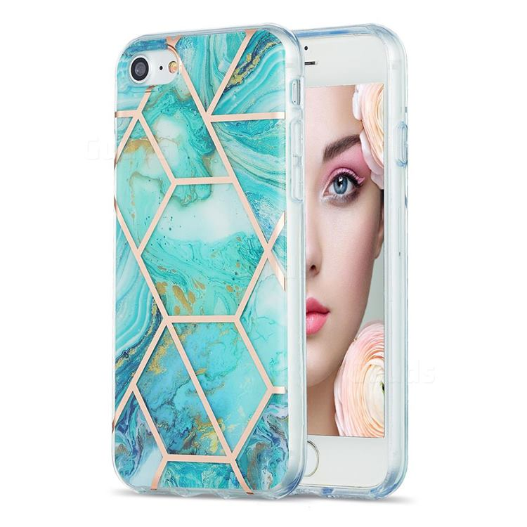 Blue Sea Marble Pattern Galvanized Electroplating Protective Case Cover for iPhone SE 2020
