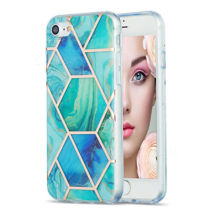 Green Glacier Marble Pattern Galvanized Electroplating Protective Case Cover for iPhone SE 2020