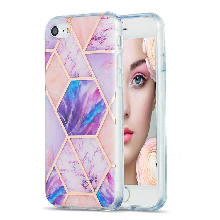 Purple Dream Marble Pattern Galvanized Electroplating Protective Case Cover for iPhone SE 2020