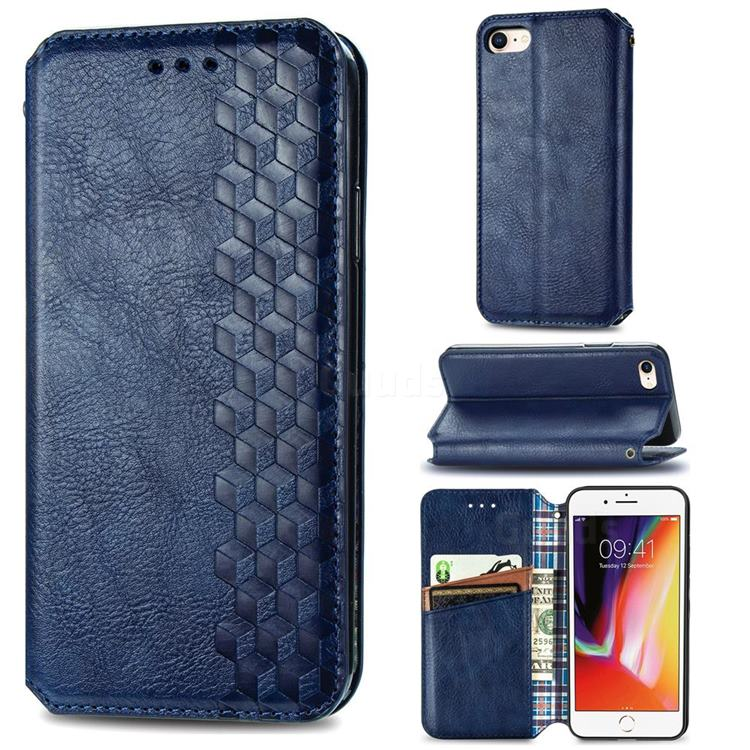 Ultra Slim Fashion Business Card Magnetic Automatic Suction Leather Flip Cover for iPhone SE 2020 - Dark Blue
